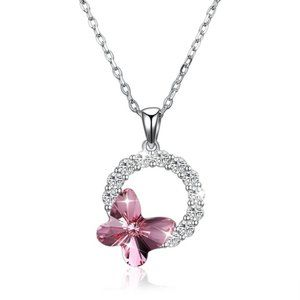 925 Silver Real Swarovski Pink Butterfly Necklace